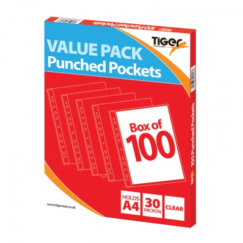 Tiger A4 Value Punched Pockets, 30mic, Box of 100