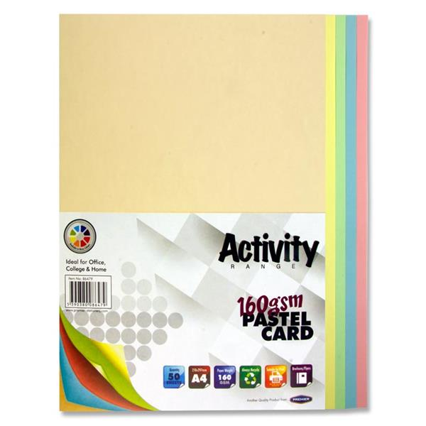 A4 160Gsm Card 50 Sheets - Rainbow Pastel
