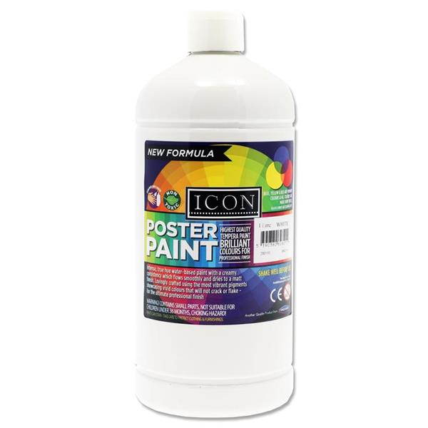 Icon Art 1ltr Poster Paint - White