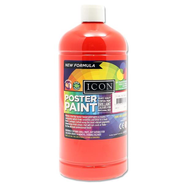 Icon Art 1ltr Poster Paint - Scarlet Red