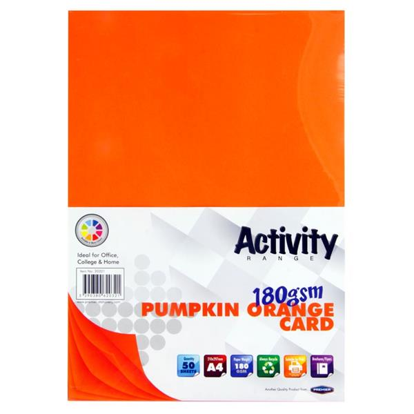 Premier Activity A4 180gsm Card 50 Sheets - Pumpkin Orange