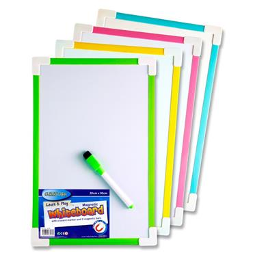 Clever Kidz 20x30cm Magnetic Whiteboard 4 Asst.