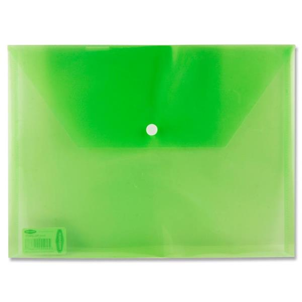 Premier A4 Button Wallet Envelope Clear 4 Asst.