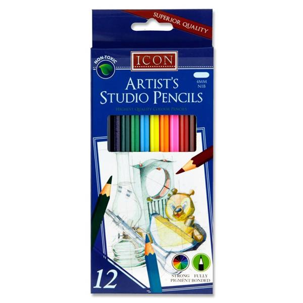 Icon Box 12 Artists Studio Colour Pencils