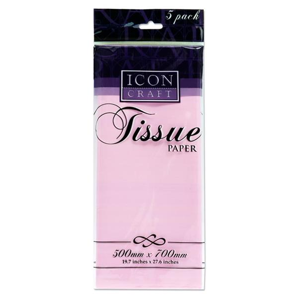 Icon Craft Pkt.5 500 x 700mm Tissue Paper - Baby Pink