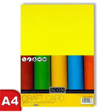 Icon A4 160gsm Craft Card 50 Sheets - Rainbow