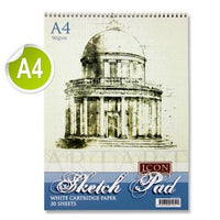 Icon A4 90gsm Spiral Sketch Pad 30 Sheets Mallow Cork