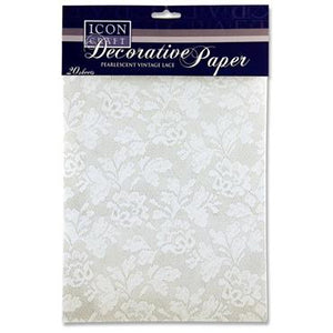 Icon Craft A4 Pearlescent Vintage Lace Paper 20 Sheets Mallow Cork