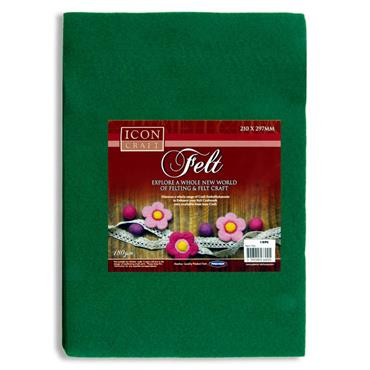 Icon Craft Pkt.10 A4 Felt Sheets - Green