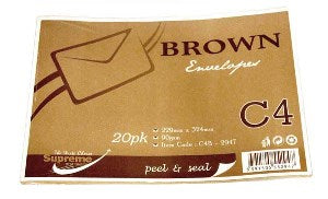 ENVELOPE C4 BROWN 90GSM 20PK