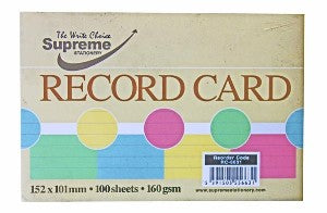 Record Card 6x4 Assorted Colour