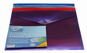 BUTTON WALLET A4 ASST 4PK (W-209B)