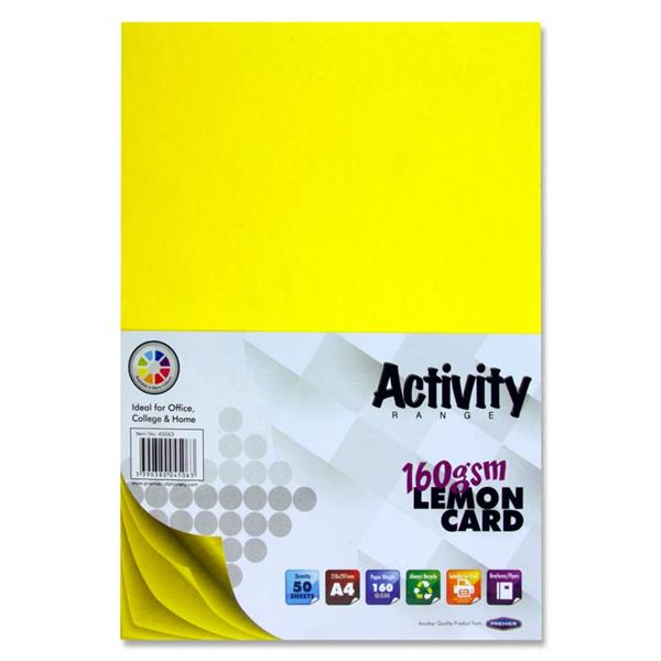 A4 160gsm Card 50 Sheets - Lemon