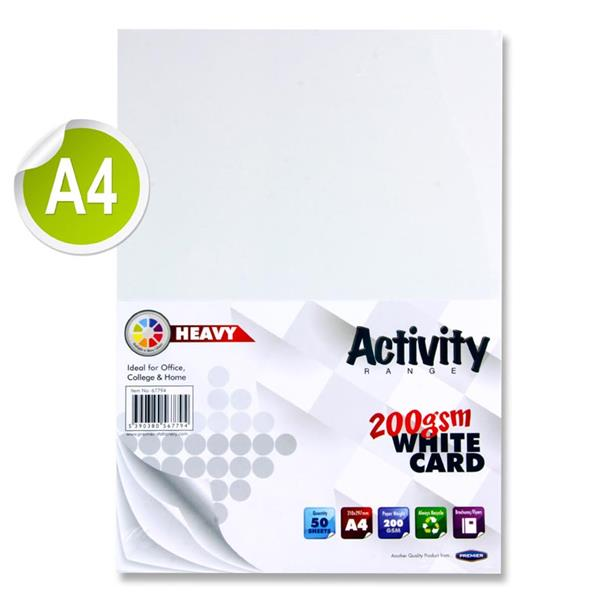 Premier Activity A4 200gsm Heavy Card 50 Sheets - White