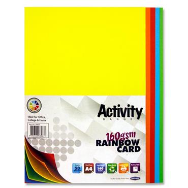 A4 160gsm Card 50 Sheets - Rainbow