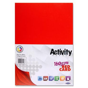 Premier Activity A4 160gsm Card 50 Sheets - Red