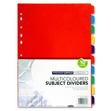 Premier Office 230gsm Subject Dividers - 10 Part