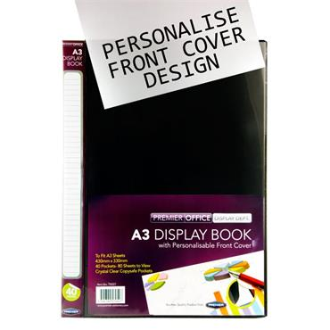 Premier Office A3 40 Pocket Presentation Display Book - Black Mallow Cork