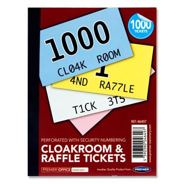 Premier Office Book 1-1000 Cloakroom & Raffle Tickets