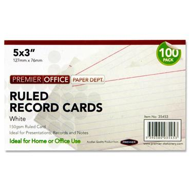 "Premier Office Pkt.100 5""x3"" Ruled Record Cards - White"