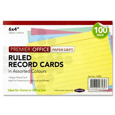 "Premier Office Pkt.100 6""x4"" Ruled Record Cards - Colour"