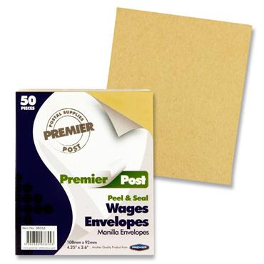 Premier Post Pkt.50 P+s Wages Envelopes - Plain Mallow Cork