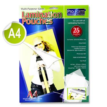 A4 Pack 25 Laminating Pouches