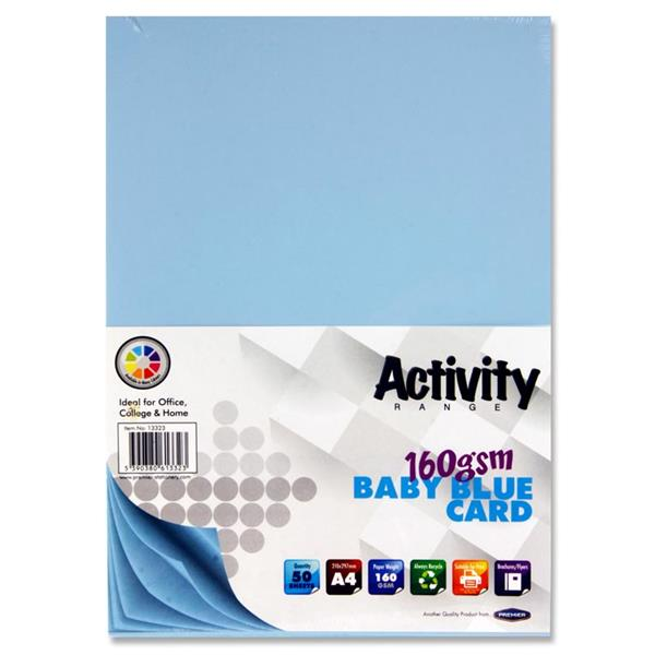 A4 160Gsm Card 50 Sheets - Baby Blue