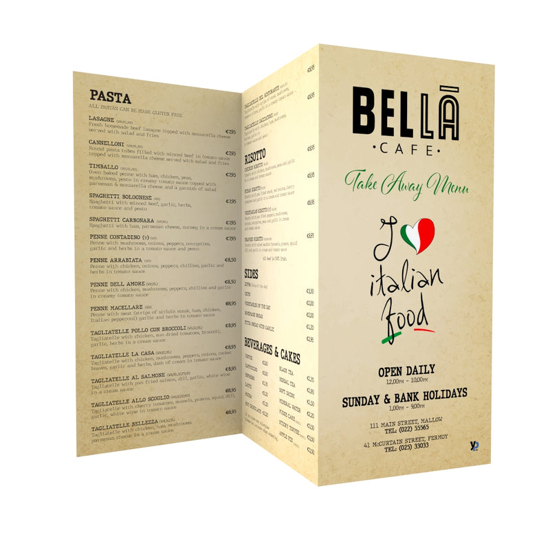 1,000 x A4 Folded Menus (170gsm gloss) (Graphic Design Included)