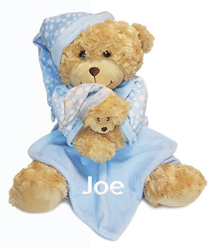 Personalised Blue Bedtime Bear