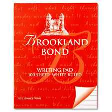 Brookland Bond Writing PAD 100 Sheet White Ruled