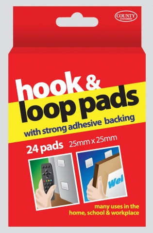 County Hook & Loop Velcro 25x25mm, 24pcs, Hangboxed