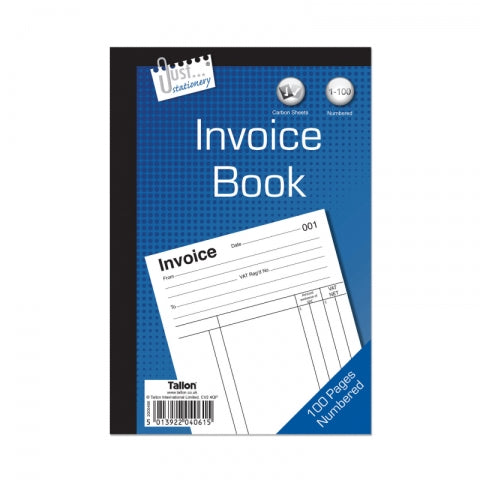 "Just Stationery Duplicate Invoice Book 8 x 5"" 80 Pages"