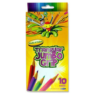 triangular jumbo grip colouring pencils 10 pacl mallow cork