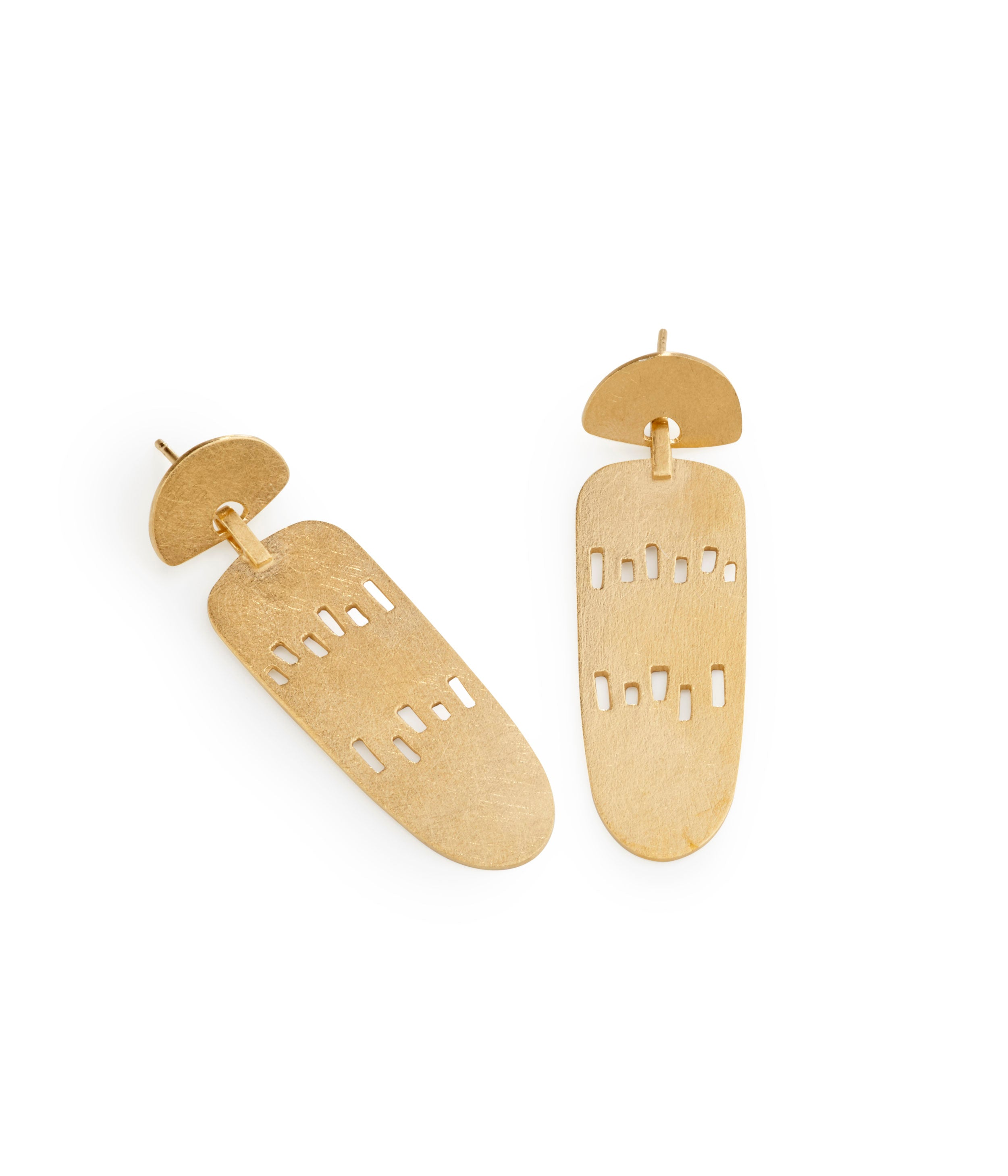 Elongated Solar Earrings Gold Plated