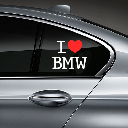 I Love BMW Window Decal