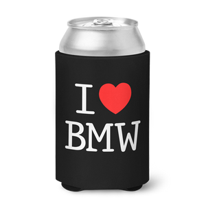 I Love BMW Can Koozie - Black