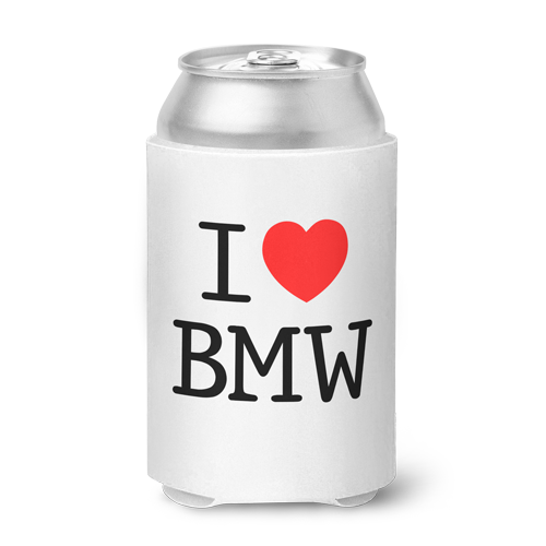 I Love BMW Can Koozie - White