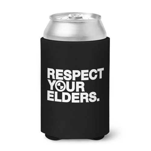 Respect Your Elders BMW Can Koozie - Black