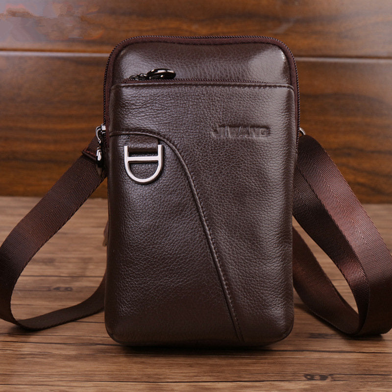 Genuine Leather 7 Inch Pad/Phone Bag Retro High Capacity Waist Bags Business Crossbody Bag For Men
