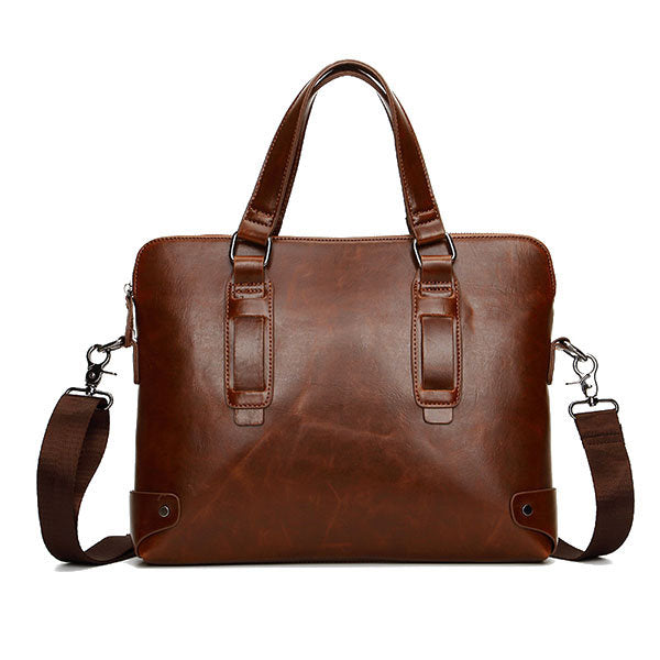 Vintage Leather Business Handbag Crossbody Shoulder Bag Briefcase For Men