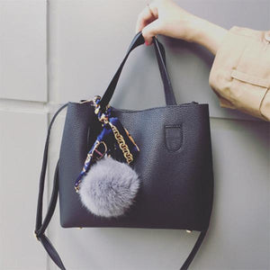 Soft PU Leather Women Handbag Two Pieces Female Shoulder Bag Girls Messenger bag Casual Women Bag