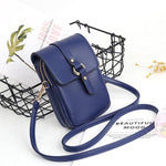 Women Faux Leather Mini Phone Bags Double Layer Crossbody Bags