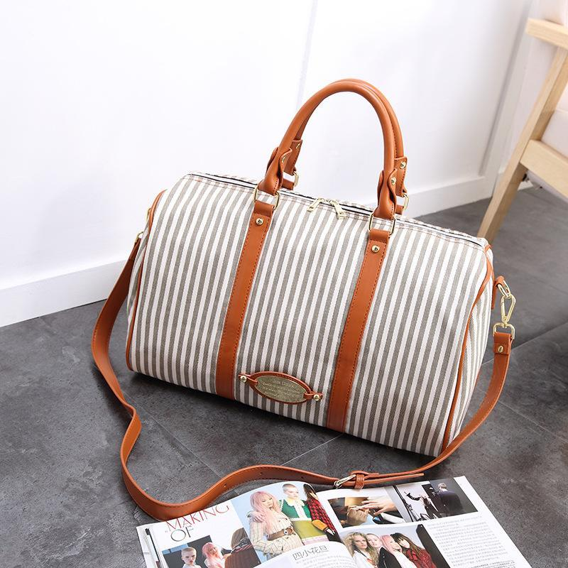 Women Canvas Stripe Large Capacity High-end Luggage Bag Travel Bag