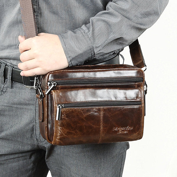 Men Genuine Leather Bag Solid Cowhide Oil Wax Crossbody Bag