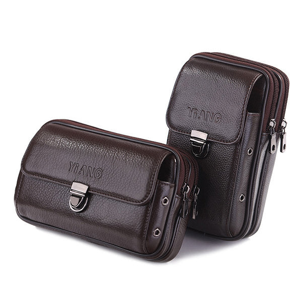 Double Zipper Genuine Leather Business Casual 6 Inch Phone Bag Waist Bag For Men