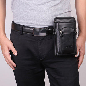 Men Genuine Leather Business Casual Multi-functional 7 Inch Phone Bag Waist Bag Crossbody Bag