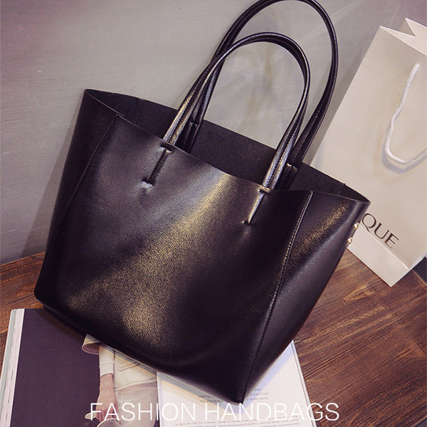 Woman Bright PU Tote Bag Handbag Elegant Shoulder Bag