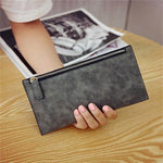Fashion Vintage Women Card Phone Storage Bag Long PU Leather Wallet