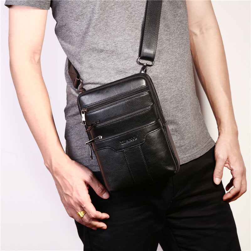 Men Vintage Genuine Leather Business Multi-functional Shoulder Bag Chest Bag Crossbody Bag